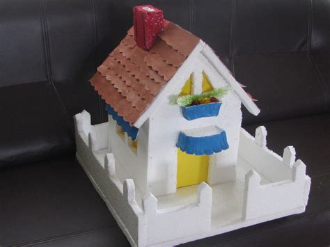 How To Make A Paper Roof - thermocol house with paper roof and poster colors model