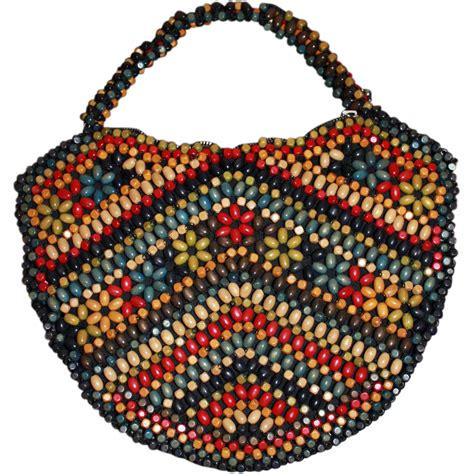 beaded bag vintage wooden beaded purse handbag sold on ruby