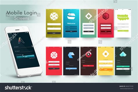 login welcome mobile modern mobile login welcome screens user stock vector