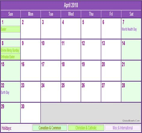 printable calendar 2018 with holidays april 2018 calendar with holidays printable