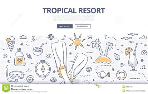 design concept for beach resort tropical resort doodle concept stock vector image 63351831