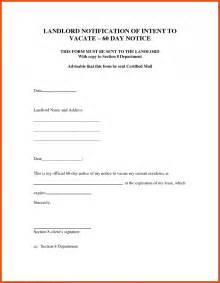 Letter To Vacate Rental Property Sle Letter by Notice To Vacate Template Moa Format