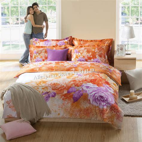 orange floral comforter orange purple flower floral printed home textile bedding