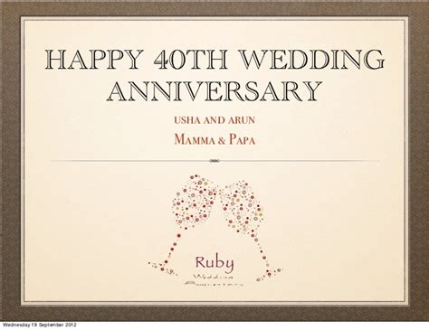 40th wedding anniversary messages for parents happy 40th anniversary quotes quotesgram