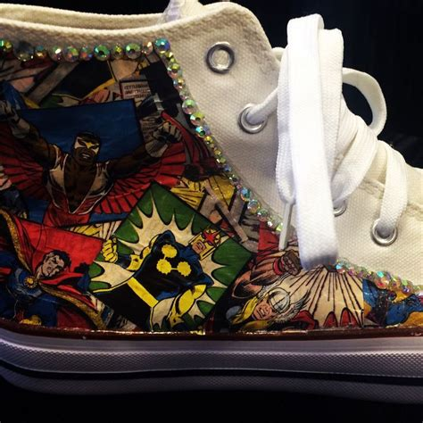 Decorated Converse by Marvel Hi Tops Custom Sneakers Sparkly Converse Style