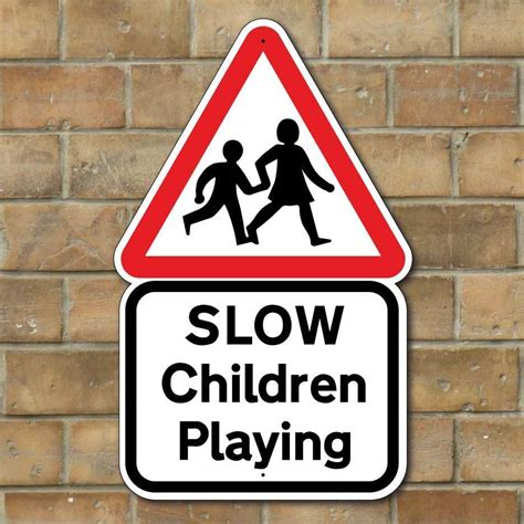 slow children playing sign kids road safety sign slow