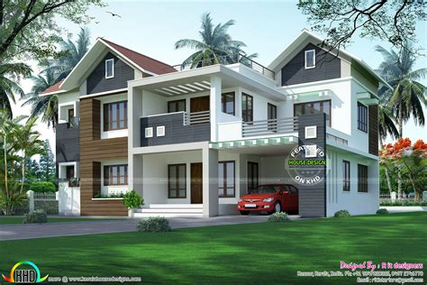 modern home designs plans modern mixed roof home 2984 sq ft kerala home design and
