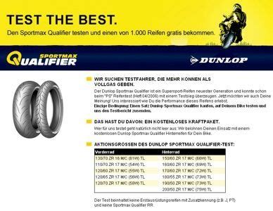 Motorradreifen Dunlop Sportmax Qualifier by Dunlop Ruft Tausend Biker Zum Gro 223 En Sportmax Qualifier