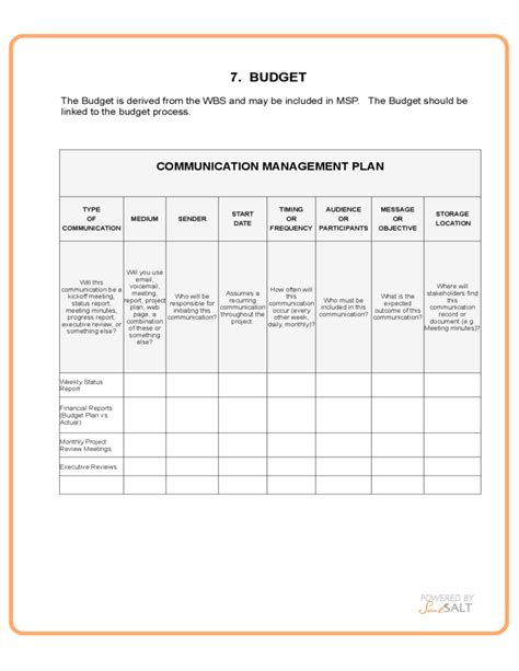 project management update template generic project management template free