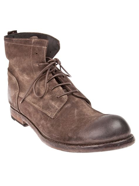 distressed boots officine creative distressed laceup boot in brown for