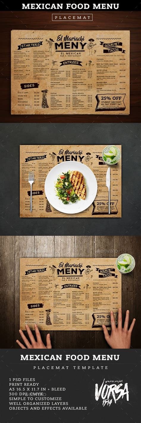 Mexican Food Menu Placemat Template Graphics Food Menu And Placemat Placemat Menu Templates