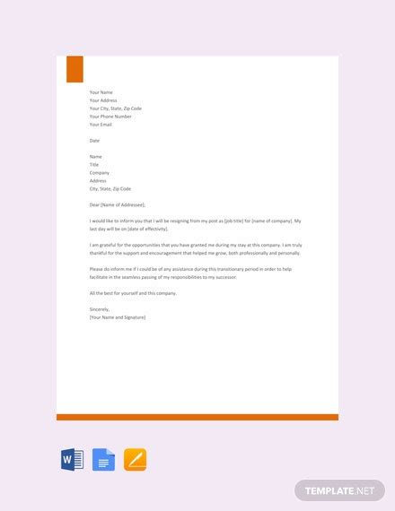 resignation letter template career growth