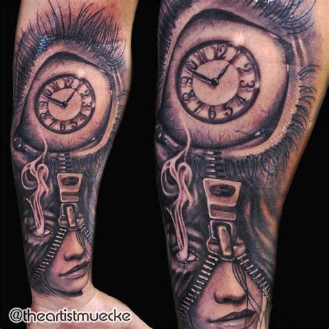 liam payne clock tattoo awesome zipper girl eyeball clock tattoo on forearm by
