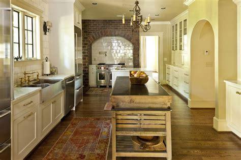 spruce kitchen island  limestone countertop country kitchen