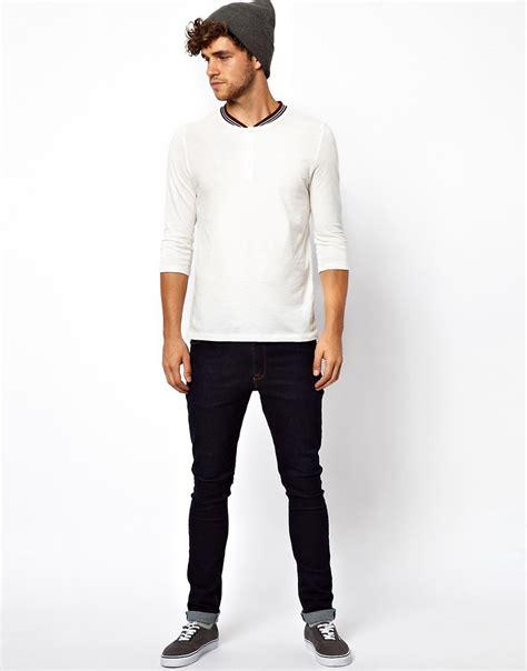 3 4 Sleeve Contrast Trim Shirt asos asos 3 4 sleeve t shirt with contrast trim grandad