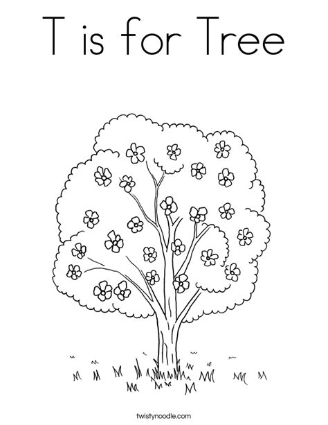 free coloring pages of trees and flowers t is for tree coloring page twisty noodle