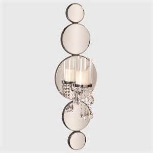 Mirror Wall Sconces Michele Mirrored Wall Sconce With Crystals