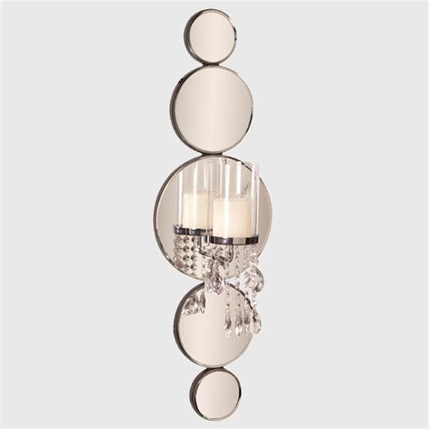 Mirrored Sconces Michele Mirrored Wall Sconce With Crystals