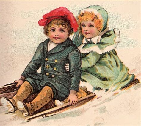 victorian clip art children sleding  graphics