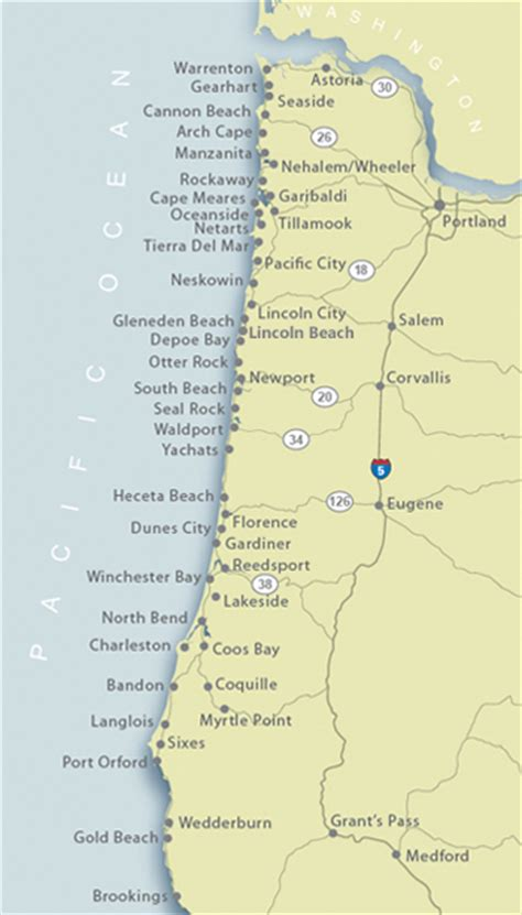 oregon coast map of our vacation rental locations