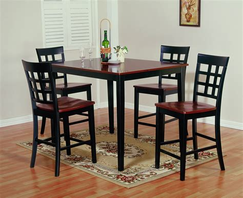 Cherry Wood Dining Table Set Cherry Wood Bistro Table Contemporary Two Toned Gathering Table Dining Room Furniture Set