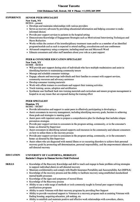 Peer Specialist Resume Samples | Velvet Jobs