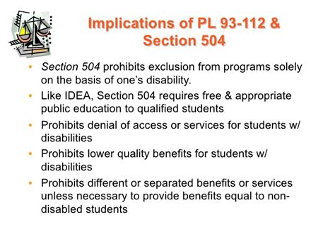 section 504 of public law 93 112 introduction legislation and litigation ppt with notes