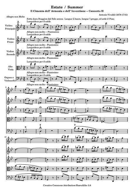 """Verano (Concerto No. 2 """"L'estate"""") Full score"""