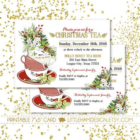 christmas tea menu printable tea invitation dinner