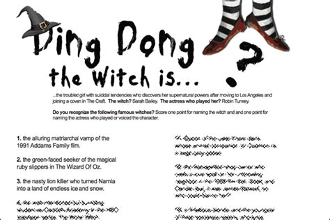 halloween themed team names witch trivia game do you know these famous witches