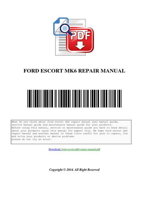 how to download repair manuals 2003 ford escort zx2 electronic throttle control ford escort mk6 repair manual download