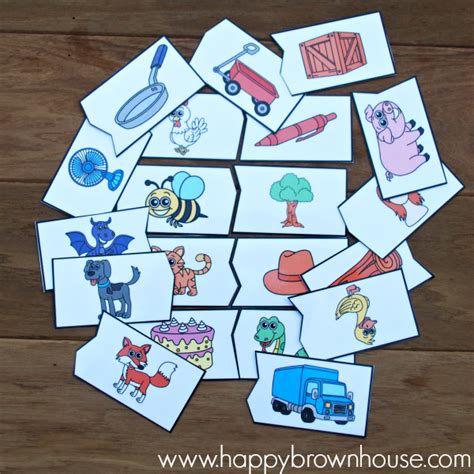 printable rhyming puzzles rhyming puzzles busy bag happy brown house