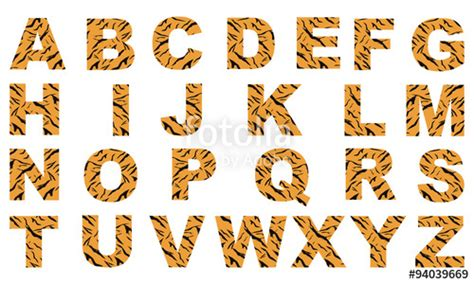 tiger pattern font quot fonts with texture tiger vector design quot stock image and