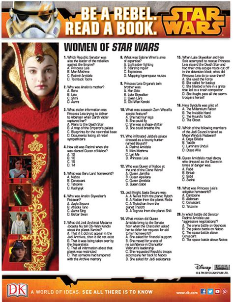 printable star wars quiz questions be a rebel read a book march women of star wars