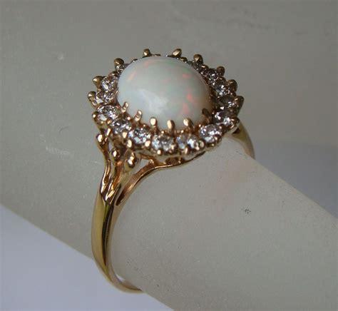 vintage 2 carat white opal ring from rubylane