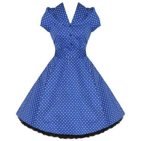 swing kleid polka dots new blue polka dot vtg 50s retro pinup rockabilly