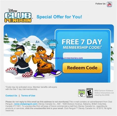 free club penguin membership club penguin emailing free 7 day memberships for hollywood