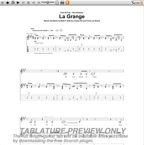 Tablature La Grange by Zz Top La Grange Guitar Tab Free Guitar Tab