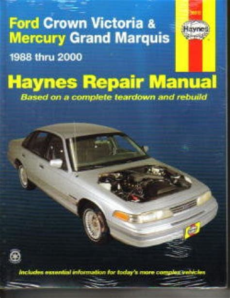 car repair manuals download 1990 mercury grand marquis user handbook haynes ford crown victoria mercury grand marquis 1988 2010 auto repair manual