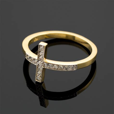 Crossed Ring gold sideways cross ring ebay