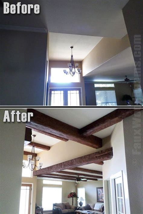 adding beams to ceiling faux wood beams add warmth to new home construction before and after timber beams are installed