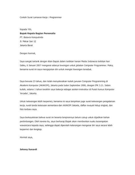 Lop Lamaran Kerja Ke Perusahaan by 10 Surat Lamaran Kerja Doc Ben