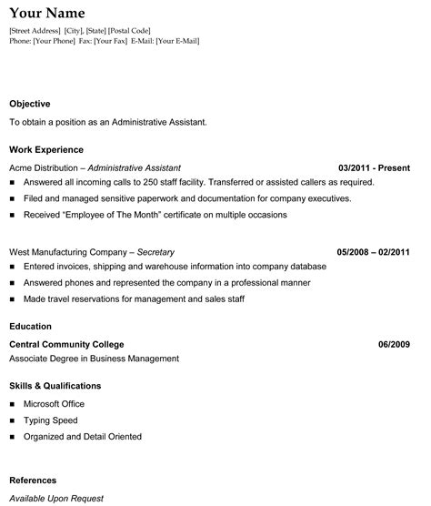 chronological resume outline sle chronological resume template recentresumes