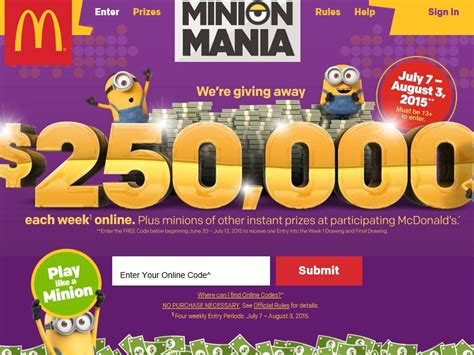 Today Show Universal Studios Sweepstakes - the mcdonald s minion mania in store game and online sweepstakes code required
