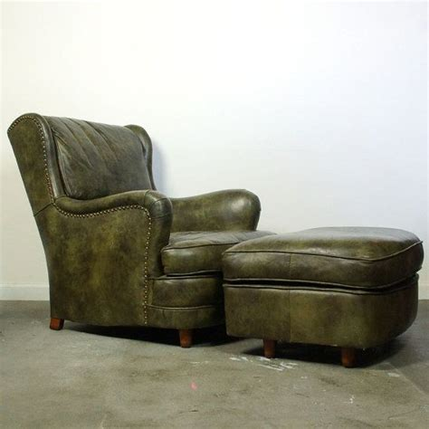 green leather chair and ottoman leather club chair ottoman genuine green leather