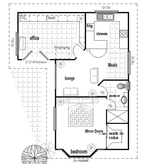 flat floor plan australian 1 or 2 bedroom granny flat with office new design