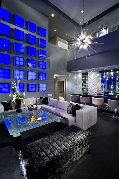 Blue And Silver Living Room Designs by Masculine Interior Design Glammed Out Interior Design
