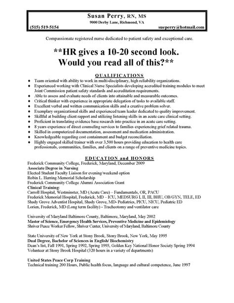 Effective Resume Sle Pdf Canada Nursing Resume Sales Nursing Lewesmr