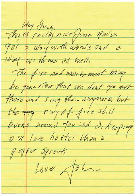 Letter Johnny A Letter From Johnny To June Velour Et Bonheur