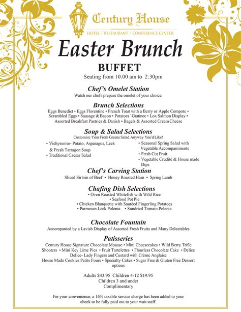 easter brunch menu only ideas top